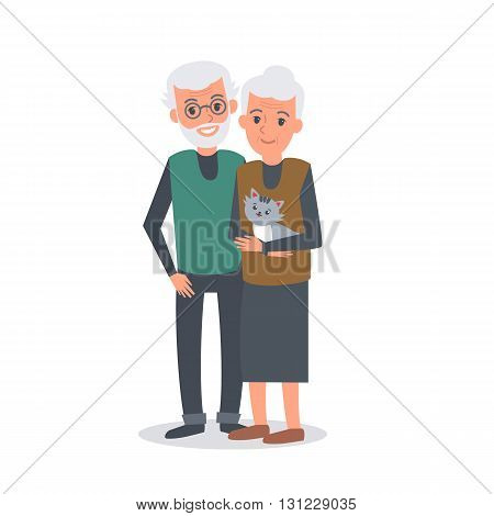 Old man and woman stand together arm-in-arm and smiling. Senior couple. Elderly man and woman. Vector illustration isolated on white background.