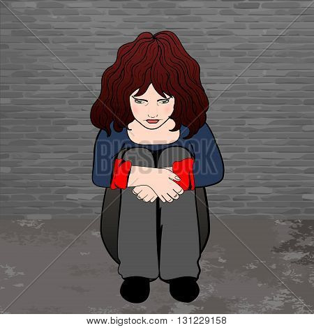 poor, sad little child girl sitting against the concrete wall. vector illustration