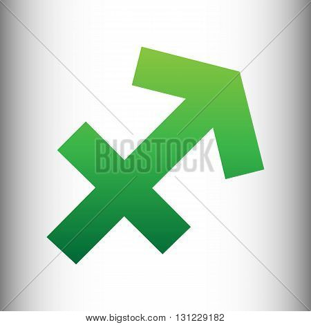 Sagittarius sign. Green gradient icon on gray gradient backround.