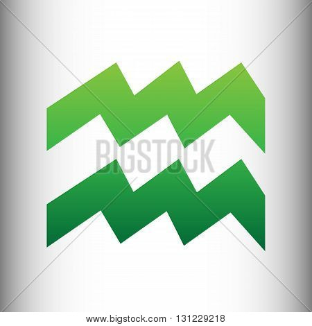 Aquarius sign. Green gradient icon on gray gradient backround.