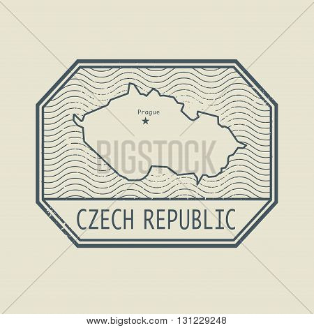 Stamp with the name and map of Czech Republic, vector illustration