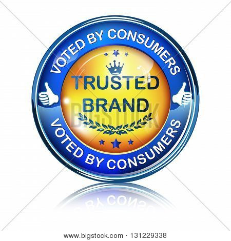 Trusted Brand. Voted by consumers - business elegant icon / button.