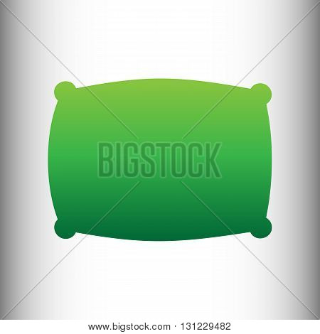Pillow sign. Green gradient icon on gray gradient backround.