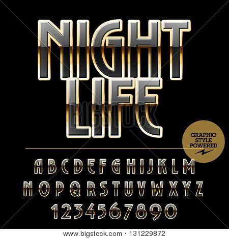 Elegant  set of black and golden alphabet letters, numbers and punctuation symbols. Vector logotype with text Night life