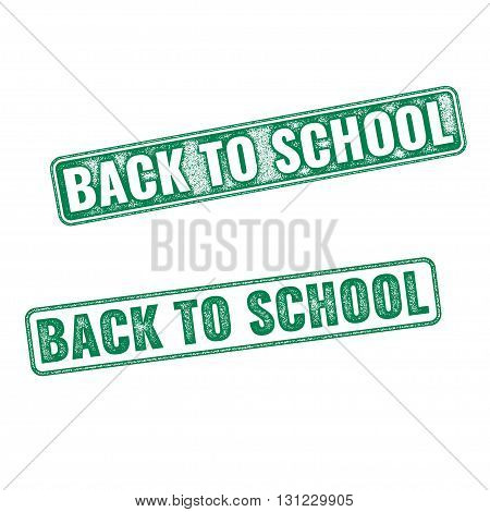 Two green textured stamps Back to School. Vector realistic Back to School imprints isolated on white background