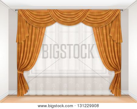 Classic beige curtain with damask pattern hanging on a window. Interior with a window decorated with transparent tulle and beautiful heavy curtains. Golden curtains pleated and pelmet. Vector.