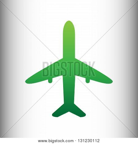 Airplane sign. Green gradient icon on gray gradient backround.