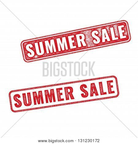 Two textured stamps Summer sale. Vector realistic Summer sale imprints isolated on white background