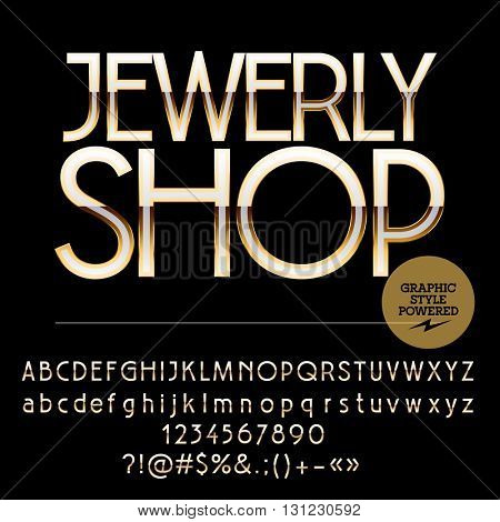Elite set of silver and golden alphabet letters, numbers and punctuation symbols. Vector logotype with text Jewerly shop