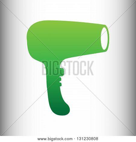 Hair Dryer sign. Green gradient icon on gray gradient backround.