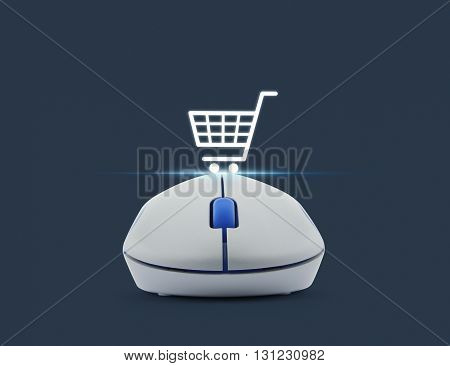 Wireless computer mouse with online shopping icon over blue background Shopping online concept