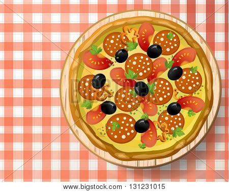 Pizza with salami sausage cheese mozzarella tomato pepper black olive fresh parsley and species on wooden cutting board on red-white tablecloth. Top view close-up vector illustration.