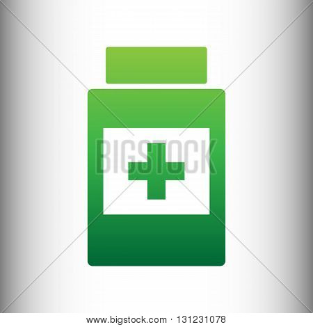 Medical container sign. Green gradient icon on gray gradient backround.