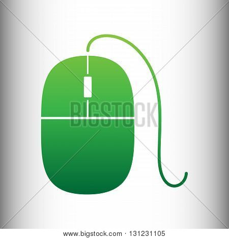 Mouse sign. Green gradient icon on gray gradient backround.