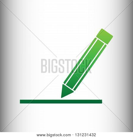 Pencil sign. Green gradient icon on gray gradient backround.