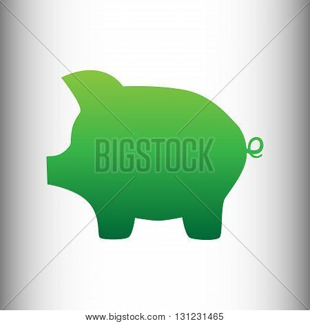 Pig money bank sign. Green gradient icon on gray gradient backround.
