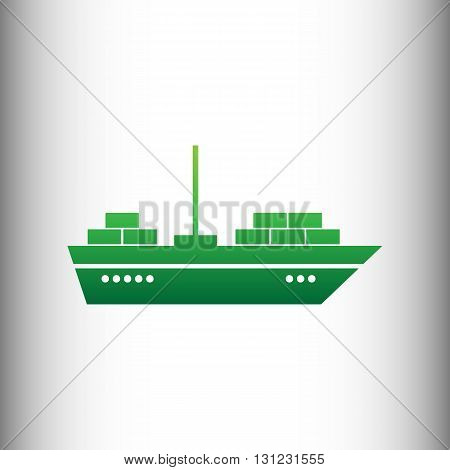 Ship sign. Green gradient icon on gray gradient backround.