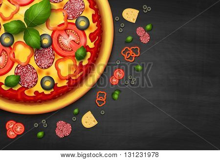 Realistic vector Pizza recipe or menu black background. Pizza with tomatoes and pepperoni on blackboard