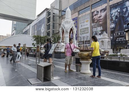 BANGKOK THAILAND - APR 17 : Unidentified people worship in Ganesha shrine at Central world in Ratchaprasong area on april 17 2016. Thailand. Ganesha shrine is one of sacred item in Ratchaprasong area
