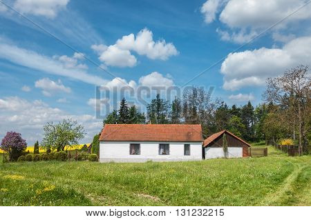 Amazing spring countryside with beautiful old country house. Rural landscape with green meadow flowering bush and field blue sky with white clouds. Czech Republic Europe.