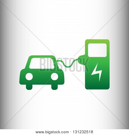 Electric car battery charging sign. Green gradient icon on gray gradient backround.
