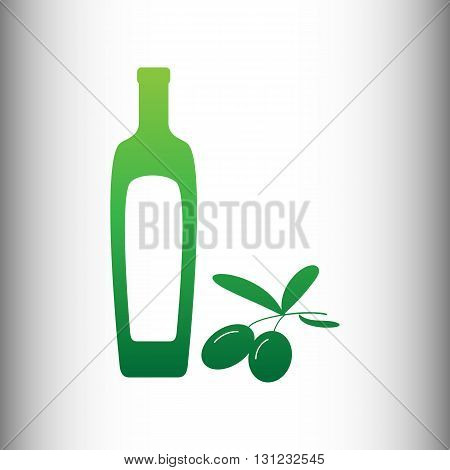 Black olives branch with olive oil bottle sign. Green gradient icon on gray gradient backround.