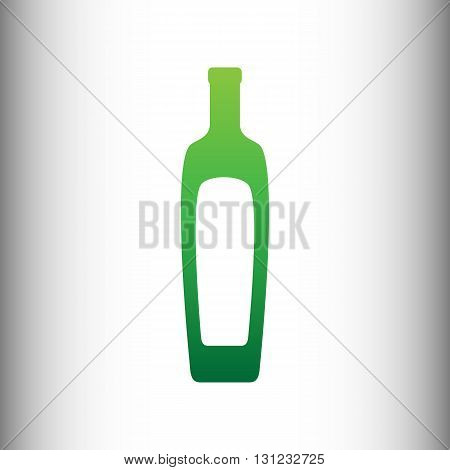 Olive oil bottle sign. Green gradient icon on gray gradient backround.