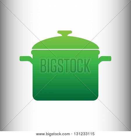 Cooking pan sign. Green gradient icon on gray gradient backround.