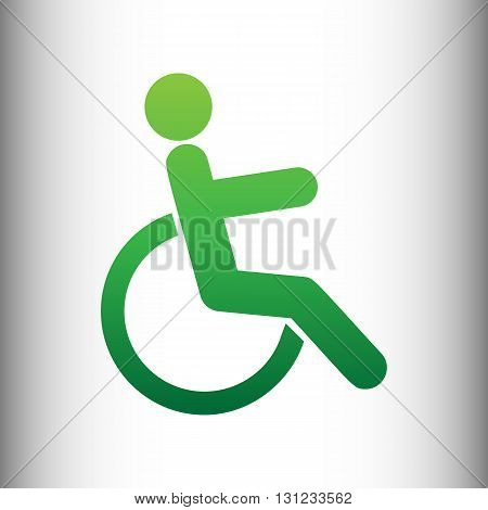 Disabled sign. Green gradient icon on gray gradient backround.