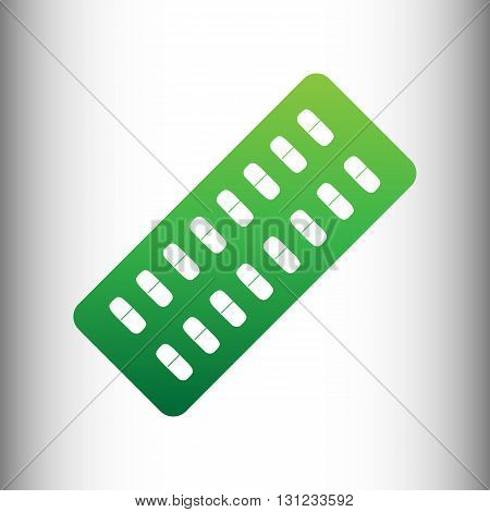 Pills sign. Green gradient icon on gray gradient backround.