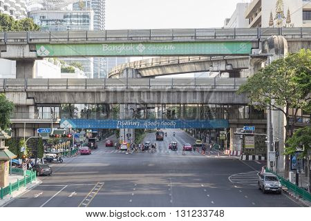 BANGKOK THAILAND - APR 17 : scene of clear traffic on Ratchaprasong Junction on april 17 2016 thailand. Ratchaprasong Junction one of is famous landmark of Bangkok