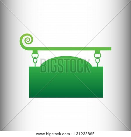 Vector wrought iron sign for old-fashioned design. Green gradient icon on gray gradient backround.