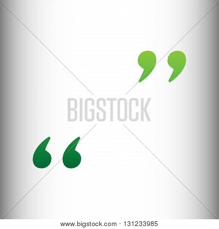 Quote sign. Green gradient icon on gray gradient backround.
