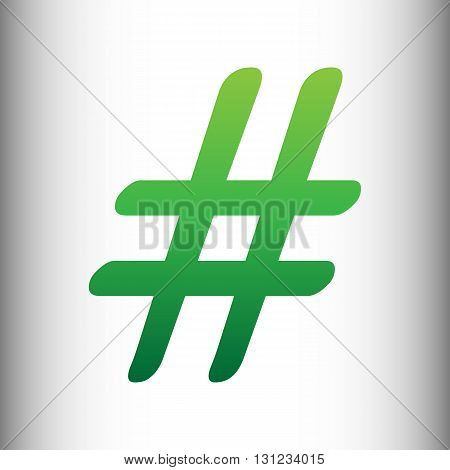 Hashtag sign. Green gradient icon on gray gradient backround.