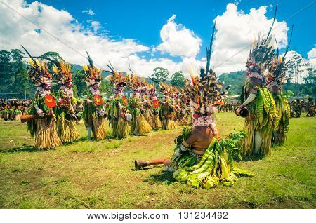 Women In Beautiful Costumes In Papua New Guinea