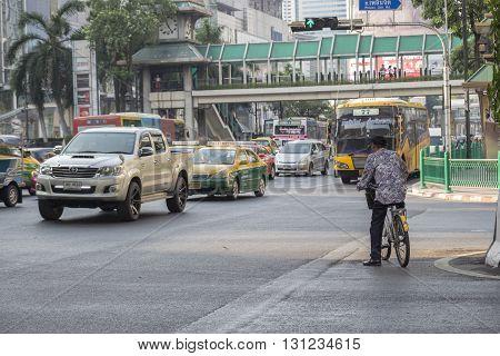 BANGKOK THAILAND - APR 17 : scene of traffic on Ratchaprasong Junction on april 17 2016 thailand. Ratchaprasong Junction one of is famous landmark of Bangkok