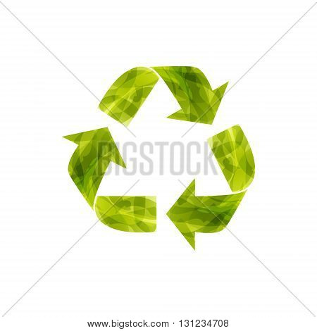 Recycle Icon. Sign of conservation. Imitation of watercolor. Think Green. Ecology Concept. Vector illustration.