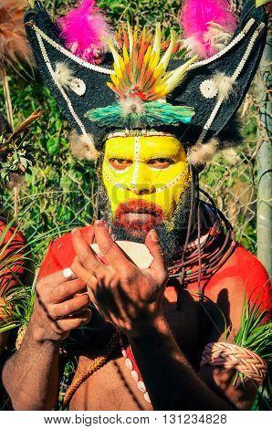 Dancers Look In Papua New Guinea