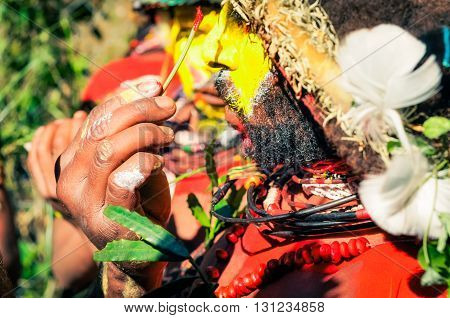 Colours On Man In Papua New Guinea