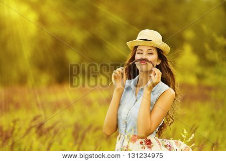 Funny Woman Outdoor Portrait Young Girl in Summer Meadow Field Mustache Grass