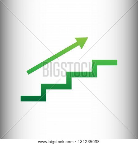 Stair with arrow. Green gradient icon on gray gradient backround.