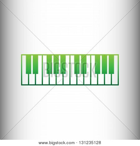 Piano Keyboard sign. Green gradient icon on gray gradient backround.