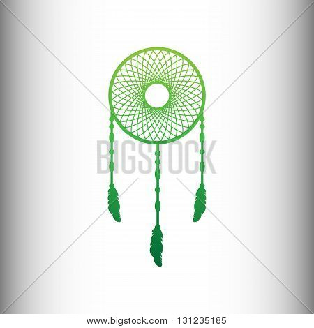 Dream catcher sign. Green gradient icon on gray gradient backround.