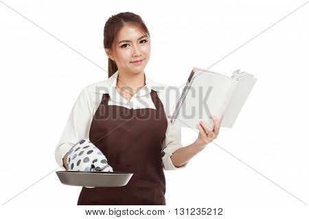 Asian Beautiful Girl Cook With Frying Pan Read Cook Book