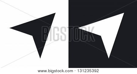 Vector navigation arrow icon. Two-tone version on black and white background