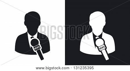 Vector news reporter icon. Two-tone version on black and white background