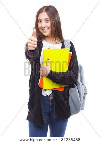 Cute young student girl with thumbs up gesture, isolated on white background