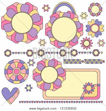 Colorful tags trims and decorations with flowers and hearts