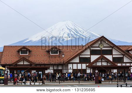 Kawaguchiko Japan - April 12 2016: Kawaguchiko railway station for scenery of Mt. Fuji is a railway station on the Fujikyuko Line in Fujikawaguchiko Yamanashi Japan operated by Fuji Kyuko (Fujikyu) It is located at an altitude of 857 metres (2812 ft)