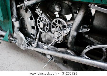 Close Up Details Of Handmade Motor Engine At Car